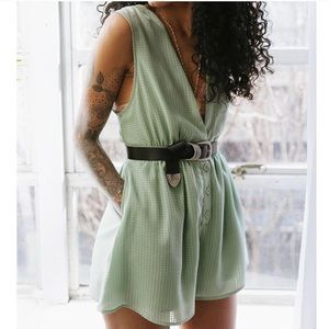 UO Green Chiffon Plunging Button-Down Romper